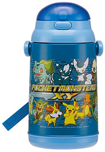 Pokemon XY Push open type cold silicon straw bottle 400ml (with WAIWAI original gift!)