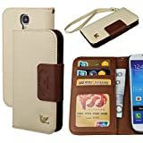Case for Galaxy S4, By HiLDA,Wallet Case,PU Leather Case,Cut,Credit Card Holder,Flip Cover Skin,(Brown)