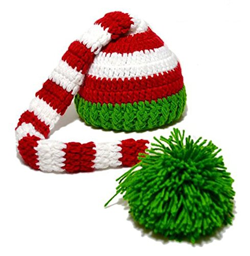 CX-Queen Christmas Baby Green Red Crochet ELF Long Tail Pom-pom Hat