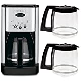 Cuisinart DCC-1200 Brew Central 12 Cup Programmable Coffeemaker   Two Bonus Carafes Bundle Includes: DCC-1200 Brew Central 12 Cup Programmable Coffeemaker (Silver), and Two (2) Cuisinart 12 Cup Replacement Carafes - (Black)