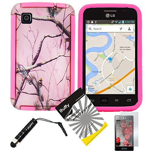 3 items Combo: ITUFFY (TM) LCD Screen Protector Film + Mini Stylus Pen + Design Wrap-Up Cover Faceplate Skin Phone Case for LG Optimus Dynamic II LG39C L39C (Net 10, StraightTalk, Tracfone) (Pink Tree Camouflage - Pink) (Lg Optimus Dynamic Ii Covers compare prices)