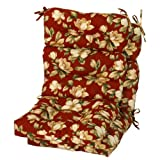 Greendale Home Fashions Indoor/Outdoor High Back Chair Cushions, Roma Floral, Set of 2