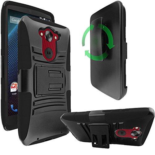 Motorola Droid Turbo Case - Belt Clip Holster Cover Shell Kickstand Criss Cross Black New Plaid Design, Motorola Droid Turbo XT1254 (Not compatible with Ballistic Nylon Version), Bonus 1x Stylus Pen