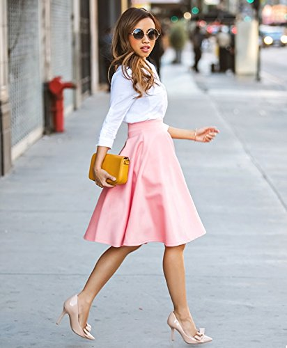 OURS Women's Pink Summer Autumn Cotton Long A Line Pleated Midi Skirts Ball Dresses these days are ours