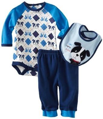 Bon Bebe Baby-boys Newborn Dog Gone Cute 3 Piece Pant Set, Blue, 0-3 Months
