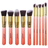 ACEVIVI Professional 10pcs Premium Synthetic Kabuki Makeup Brush Set Foundation Blending Cosmetic Brushes Essential Kit Pink + Golden
