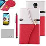 Pandamimi ULAK(TM) White / Red Dexule Travel Wristlet Wallet Clutch Bag Pouch Case Cover for Samsung Galaxy S4 i9500 With Screen Protector and Stylus(cleaning cloth with ULAK Logo)