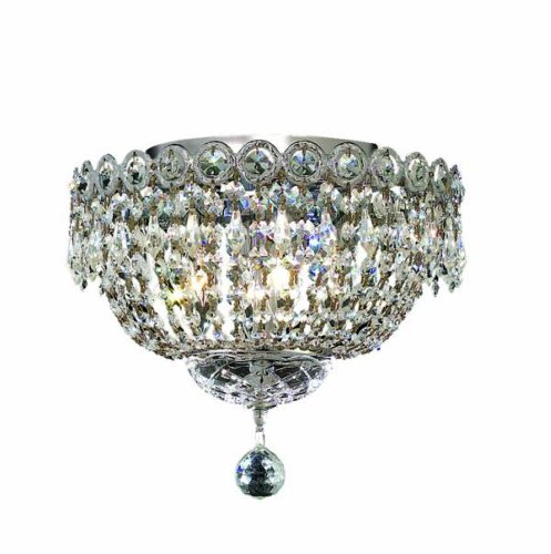 Elegant Lighting 1900F12C/Rc Century 10-Inch High 4-Light Flush Mount, Chrome Finish With Crystal (Clear) Royal Cut Rc Crystal front-680050