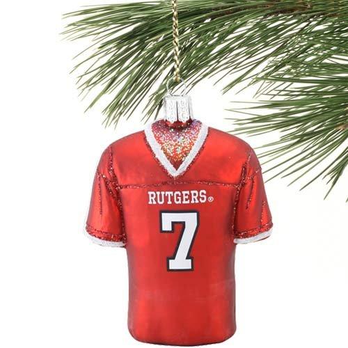 NCAA Rutgers Scarlet Knights #7 Glass Football Jersey Ornament (Rutgers Football Jersey compare prices)