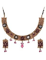 Shahenaz Jewellers 24 Ct Gold Plated Bridal Jewellery Set With Marquis Stones For Women - B00R2IOE6Y