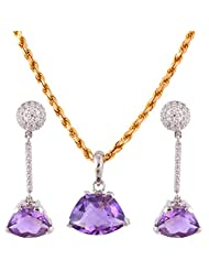 Mariya Impex Classic Collection Silver Pendant Necklace Set For Women - B00YHWOK6M
