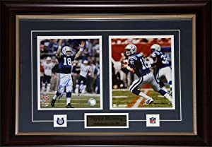 Peyton Manning Indianapolis Colts signed 2 photo frame by Midway Memorabilia