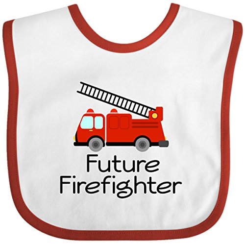 Inktastic Baby Boys' Ladder Truck Future Firefighter Baby Bib One Size White/Red