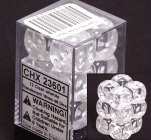 Chessex Dice d6 Sets: Clear with White Translucent - 16mm Six Sided Die (12) Block of Dice