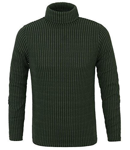 ililily Men Stripe Rib Knit Slim-fit Turtleneck Sweater Casual Pullover Jumper , Dark Green, US-Medium