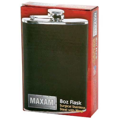 Maxam 8OZ SS FLASK W/BLACK WRAP