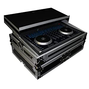 XS-N4-LT designed to protect and hold the Numark N4 digital controller heavy duty ATA 300 DJ flight case with adjustable sliding laptop shelf