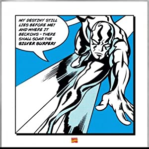 "Silver Surfer - Framed Retro Style Comic Art Print / Poster (Quote: My Destiny...) (Size: 16"" x 16"")"