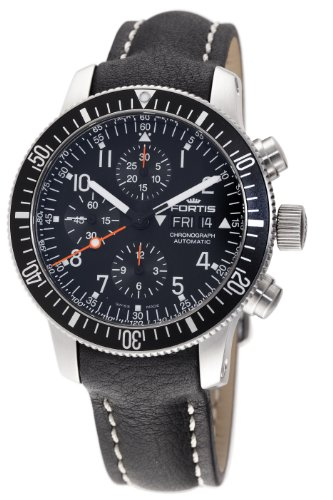Fortis Men's 638.10.11L.01 B-42 Official Cosmonauts Automatic Chronograph Black Dial Watch