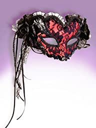 Deluxe Red Black Flower Pattern Mardi Gras Valentine Venetian Eye Half Mask