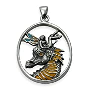 Dragon Fae - Fairy on Dragon Head Sterling Silver Pendant by Selina Fenech