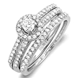 0.75 Carat (ctw) 14k White Gold Round Diamond Ladies Halo Bridal Ring Engagement Matching Wedding Band Set
