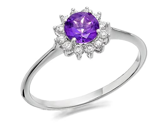 F. Hinds Womens Ladies 9ct White Gold Amethyst And Diamond Ring - 15pts