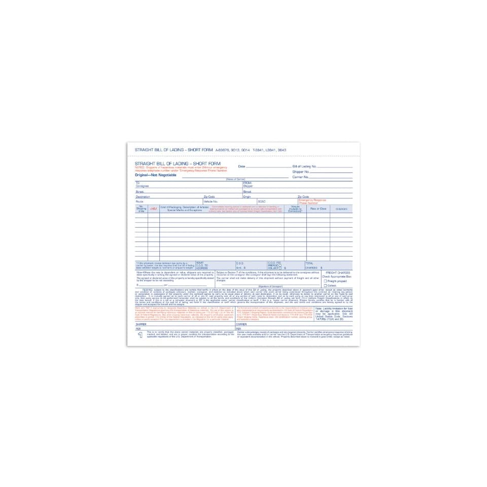 9 x 7 Short Form Bill Of Lading 4 Part RED6P696