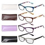 Liansan Designer Readers 4 Pairs Rectangular Plastic Frame Reading Glasses for Men and Women L3706X(+3.75)