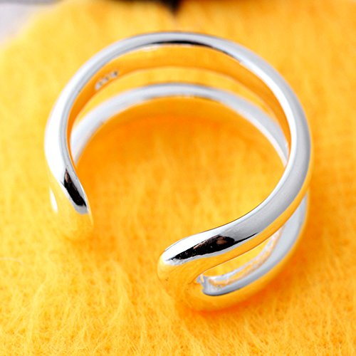 Stunning Silver Plated Classic High Polished Double Line Ring Gorgeuos