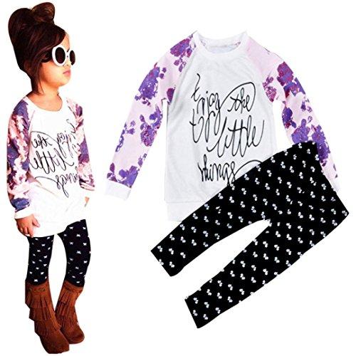 Culater® Bambina bambino a manica lunga T-shirt stampata Top Pantaloni Outfits (120)