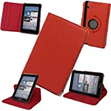 TECHGEAR - PU leather 360 Degree Rotating Folio / Cover / Stand / Typing Case for Samsung Galaxy Tab 2 7.0 7 inch P3100 / P3110 (RED)