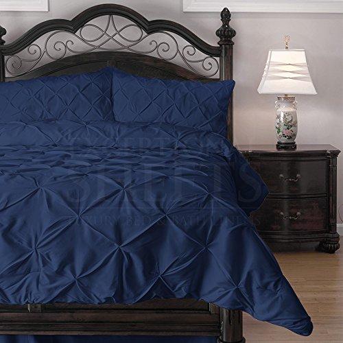 Buy Emerson 4-Piece Pinch Pleat Puckering Comforter Mini Set, Queen, Navy Blue