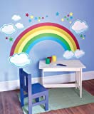 Rainbow, Stars, and Cloud Prepasted Wall Mural