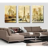 Espritte Art-Large Paris Eiffel Tower, Picture Painting on Canvas Print without Framed, Modern Home Decorations Wall Art set of 3 Each is 40*60cm #D01-208
