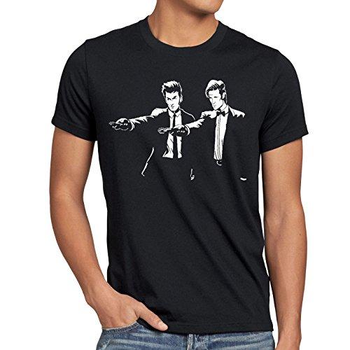 style3 Who Time Fiction T-shirt da uomo police doctor box space dr tarantino, Dimensione:L;Colore:Nero