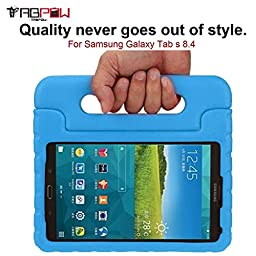 Galaxy Tab S 8.4 Case, TabPow [Kids Case] - [Shockproof][Drop Protection][Heavy Duty] Kids Children EVA Case Cover with Carrying Handle Stand For Samsung Galaxy Tab S 8.4 (Blue)