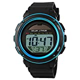 GOHUOS Kids Boys Girls Lovely Digital Led Back Light Watches Week Alarm Chronograph Wrist Watch-Blue