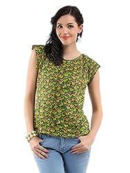 Miraaya Women's Top (M2523B_86789, Green, S)