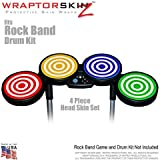 Bullseye Colors and White Skin by WraptorSkinz fits Rock Band Drum Set for Nintendo Wii, XBOX 360, PS2 & PS3 (DRUMS NOT INCLUDED)