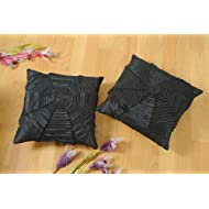 Shahenaz Home Shop Kyrah Plitted Web Poly Dupion Cushion Cover - Black