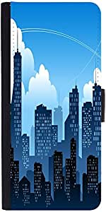 Snoogg Mumbai By Night Graphic Snap On Hard Back Leather + Pc Flip Cover Sams...