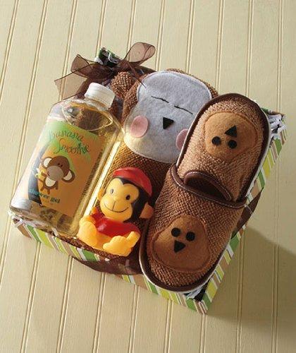 Kids' Monkey Bath Slipper Set front-968174