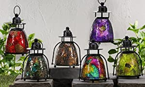 Gift Craft 9-Inch Mosaic Glass and Metal Tea Light Lanterns, Small