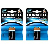 2 x Duracell 9V PP3 Ultra Power Alkaline Batteries (LR22, MN1604, 6LR61, MX1604)