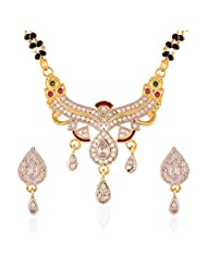 I Jewels Traditional Gold & Rhodium Plated CZ American Diamond Mangalsutra Set With Earrings For Women D0005