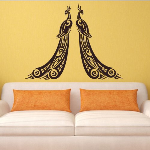 Wall Decal Art Decor Decals Sticker Peacock Couple Bird Beauty Tail Feather Bedroom Design Mural (M931) front-1067054