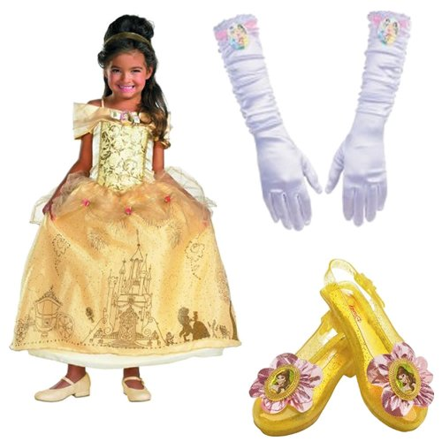 Disney Storybook Belle Deluxe Costume Toddler (3T-4T) Including Gloves and Shoes