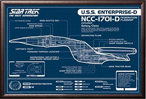 Framed Starship Enterprise NCC-1701-D Draft - Star Trek 22x34 Poster in Rust Finish Wood Frame Next Generation