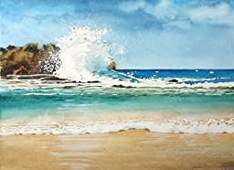 Big Crash, Giclee Print of Watercolor Seascape Showing a Large Wave Crashing Against the Rocks, 15 X 19 Inches